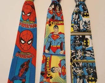 Boys' Tie - Superhero Fabric- Batman-Superman-Spiderman, Boys Necktie
