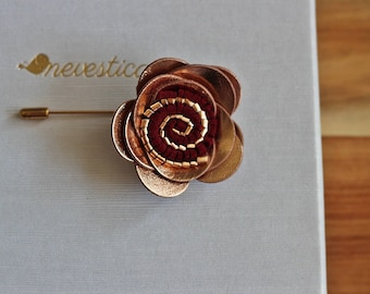 Rose Gold flower lapel pin,bow tie,rose gold wedding Boutonniere, cooper Lapel Flower pin rose gold boutonniere, flower lapel pin, mens gift