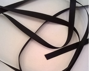 Black Silk Satin Ribbon, Double-Faced - 1/4 Inch - 6mm Ribbon - Sold by the Yard