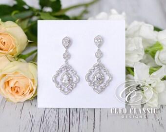 Bridal Jewelry Bridesmaid Jewelry Wedding Jewelry Bridal Earring Rhodium Art Deco Inspired Dangle Earrings Bridesmaid Chandelier Earrings
