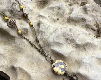 Vintage brass chain with Kazuri focal necklace