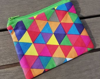 """Geometric pouch. Zipper pouch / make up bag / small bag / coin purse. Lined with fun colors 5 x 4"""""""