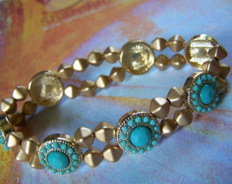 Stretch Bracelet Gold and Turquoise Southwestern