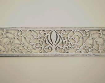 Farmhouse Wall Decor Fleur De Lis Grille ~ A carved wood panel with Shabby Chic ~ Reclaimed rustic art ~ Architecture Art Fretwork