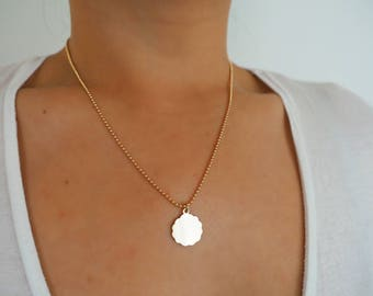 14k Gold Ball Chain Cloud Coin Necklace