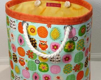 Fabric bin with handles, medium storage bin, fabric bin, storage organizer, circular, purple & pink floral