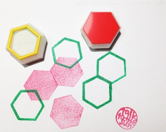 geometric hexagon pattern rubber stamps | beehive stamp | gift wrapping | card making | diy | hand carved by talktothesun | set of 2