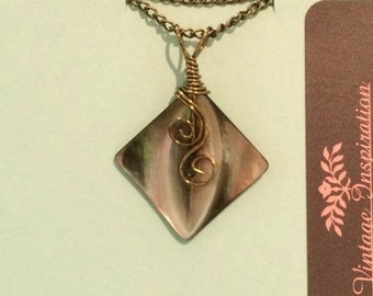Bronze Hand-wired Vintage Square, Carved Smoky Mother of Pearl Button Necklace #20005