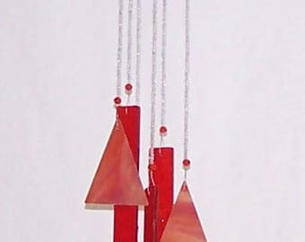 Handmade Handcrafted Stained Glass Beaded Wind Chime Suncatcher – Nice sound!