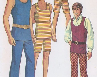 70s RETRO Men's Hip Hugger Pants, Shorts and Tank Top American Hustle Style SIMPLICITY 9385 Vintage Sewing Pattern Chest 38