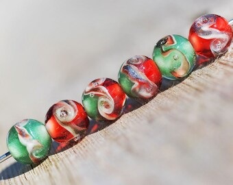 Lampwork BORO glass beads (6), borosilicate glass beads, handmade borosilicate lampwork glass beads, Merry Christmas XMAS 1 borosilicate SRA
