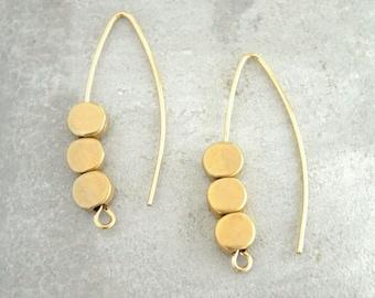 Dangle earrings, Drop earrings, Gold earrings, Arc earrings, Marquise earring, Open hoop earrings, Minimal earrings, Bead earrings