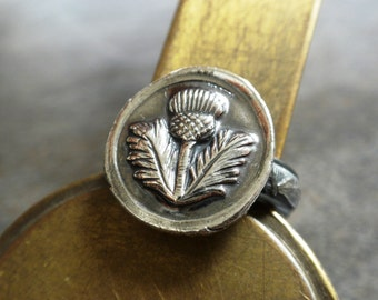 Outlander Ring Scottish Thistle Jewelry Signet