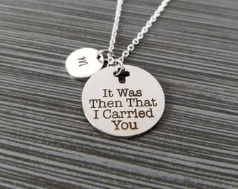 Footprints in the Sand Necklace - Religious Necklace - It Was Then That I Carried You - Cross Necklace - Christian Necklace Bible Verse
