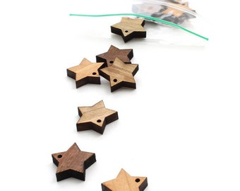 Laser Cut Mini Wooden Stars - Beads by Timber Green Woods