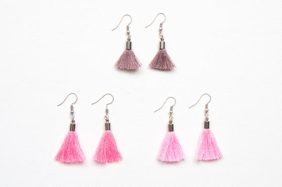 aa8f58f3486 Purple tassel earrings Pink tassel earrings Tassle earrings Tassel earrings  Purple tassle earrings Silver tassel earrings Silver tassel