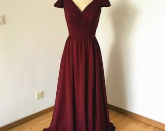 Cap Sleeves V-neck Burgundy Chiffon Long Bridesmaid Dress