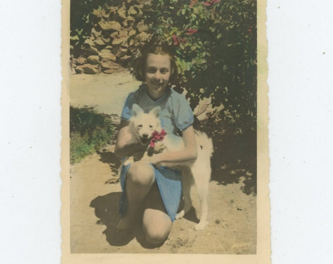 Vintage Hand-Tinted Snapshot Photo: Girl with Dog, Turkey [86697]
