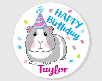 Happy Birthday Partry Stickers - personalized guinea pig with hat  - pink and blue - assorted sizes - Gifts - Presents - Favor Bags