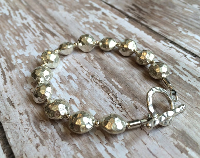 Hammered Silver Bracelet--Rustic Thai Silver with Toggle Clasp