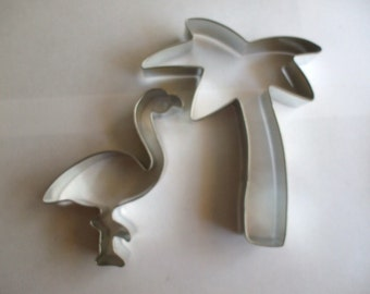 """5"""" Palm Tree with Flamingo Cookie Cutter set, beach party, summer cookie cutter"""