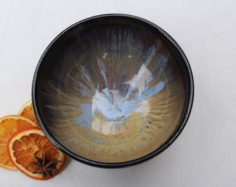 Cereal Bowl - Black & Blue - Hand Thrown Stoneware - Ready to Ship