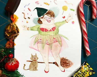 The Candy Loving witch - Original illustration