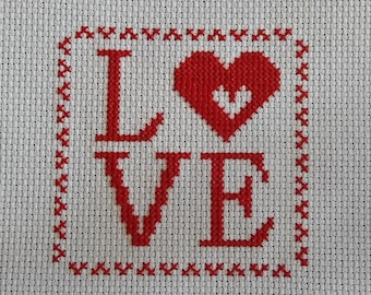 Free Shipping Handmade Completed Finished Embroidery Heart Love Cross Stitch