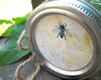 Vintage Honey Bee canning labels, round mason jar stickers, honey bottle label, fruit preservation, backyard beekeeper gift