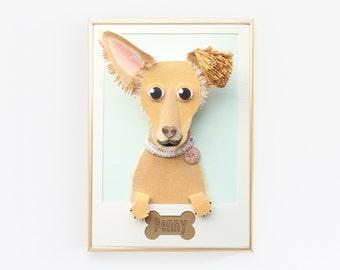 "Custom Schnauzer, Chihuahua, Terrier mix Portrait. Pet Portrait Made from Paper 5""x7""."