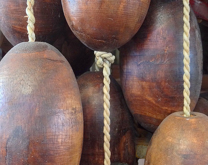 Beach Decor Brown and Yellow Lobster Buoy Nautical Wooden by SEASTYLE