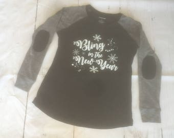 """Woman's Preppy Patch Slub Tee """"Bling in the New Year"""""""