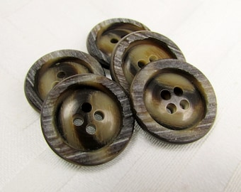"""Ridged Rim: 13/16"""" (21mm) Brown Marbled Buttons with Ridged Rim Detail - Set of 5 New / Unused Buttons"""
