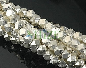 HIZE SB211 Thai Karen Hill Tribe Silver Faceted Nugget Cube Beads 3mm (55)