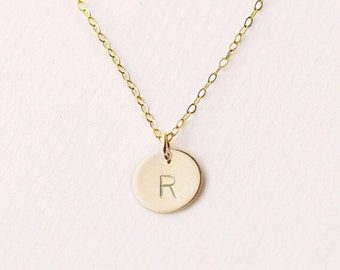 Hand Stamped /charm/ initial necklace in 14k Gold filled /dainty necklace