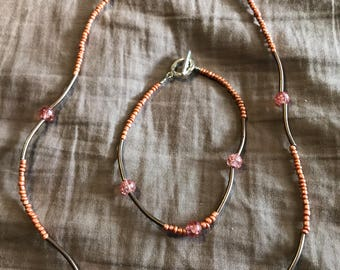 Rust brown necklace/bracelet with pink and copper