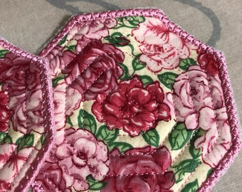 Set of 2 NEW Embroidered quilted coasters floral design