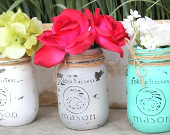 Painted Mason Jars, Mason Jars Decoration, Chalk Pain Jars, Flower Jars,  Distressad Mason Jars, Vintage Mason Jars, Shabby Chic Decor,