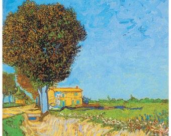 Hand-cut wooden jigsaw puzzle.  LANE near ARLES. Van Gogh. Impressionist. Impressionism. Wood, collectible. Bella Puzzles.