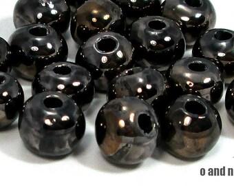 Round greek ceramic beads, golden black 12mm - set of 4