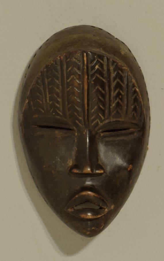 Africa Dan Mask Carved Wood Ivory Coast Handmade Magic Performance Power Statement Spirit Dan Mask