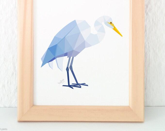 White heron print, New Zealand heron, Kotuku art, Kiwi art, Kiwiana art, Native New Zealand bird art, New Zealand artist, Geometric print