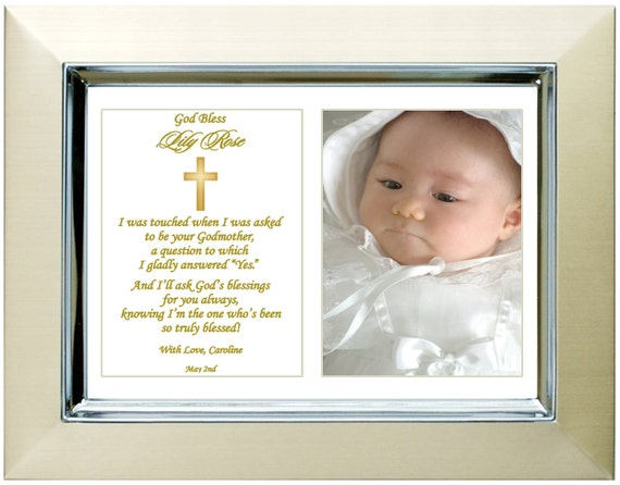 Personalized Godchild Gift from Godmother Baptism Frame for