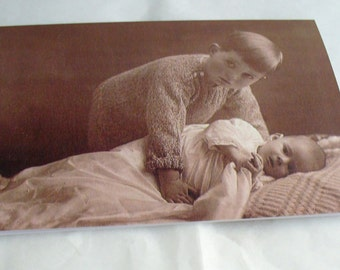 Young Boy and Baby Blank Greetings Cards  featuring Vintage Images  New baby Choice of border colour