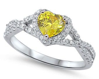 Women Sterling Silver Yellow Heart CZ Solitaire Engagement Ring 8MM(SNRC105138-YL)