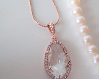 Rose Gold Statement Necklace,Valentine's,Wedding Gift,Clear crystal Teardrop necklace,Bridal Necklace,Romantic,Prom,Wedding jewelry