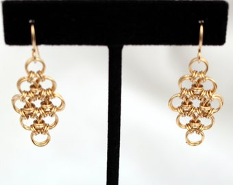Gold-filled Japanese Diamond Chain Maille Earrings