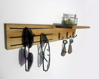 rustic wooden holder for key and sunglasses, entryway organizer