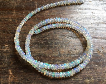 """RESERVED For Michelle  ~ Breathtaking AAAA Rainbow Fire Ethiopian Welo Opal Faceted Rondelle Beads, 3.5mm - 4.5mm, 16"""" Strand"""