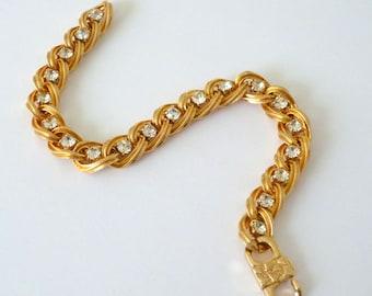 Rhinestone Link Bracelet, Gold Tone Tennis Bracelet, Vintage Rhinestone Jewelry